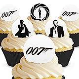 12 x Vorgeschnittene und Essbare James Bond Kuchen Topper (Tortenaufleger, Bedruckte Oblaten, Oblatenaufleger)