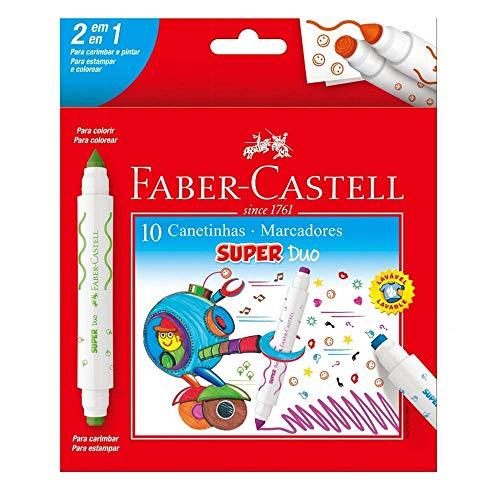 Canetinha Hidrográfica com Carimbo, Faber-Castell, Super Duo, DUO150610, 10 Cores