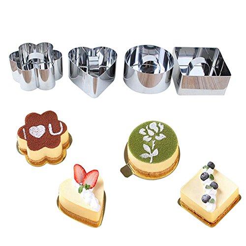 Skyeye Lot de 4 moules à gâteau ronds en acier inoxydable avec poussoir 7,5-8 cm de diamètre