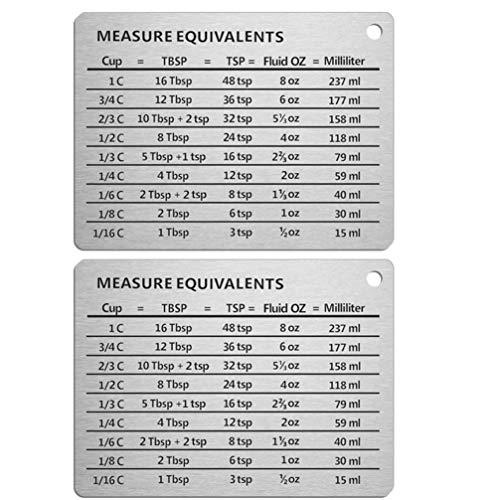 Cabilock 2pcs Measure Equivalent Stainless Steel Magnet Measurement Conversion Chart Measuring Chart Measure Equivalent for Kitchen Home Refrigerator