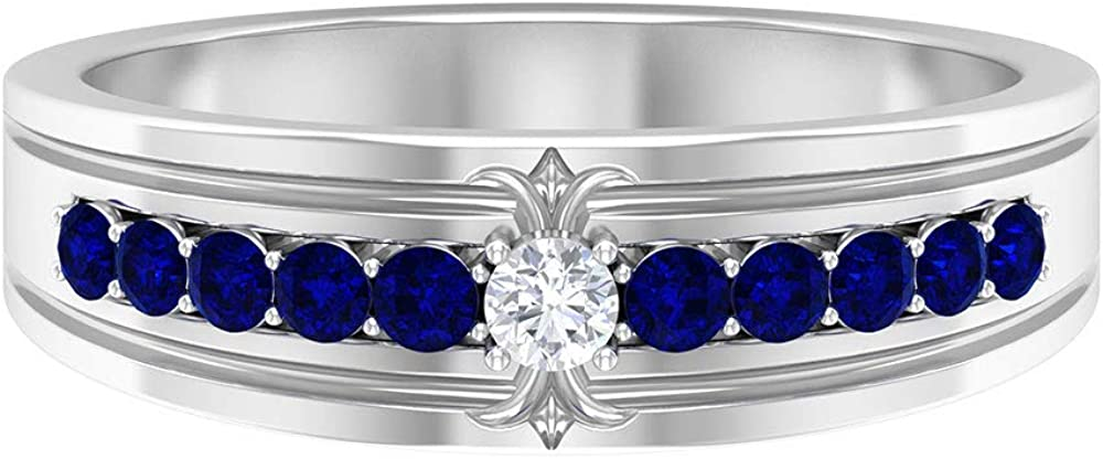 1/3 CT Certified Blue Gemstone Wedding Band Ring, Round Shape Blue Sapphire Diamond Half Eternity Band Ring, September Birthstone Stackable Ring, 14K Gold
