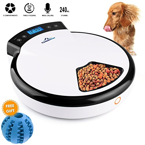 CanineStar Automatic Pet Feeder Pet Dish with Intelligent Real Voice Recorder Timer Food Dispenser with LCD Display and 240ML 5 Capacity for Cats, Dogs, and House Animals