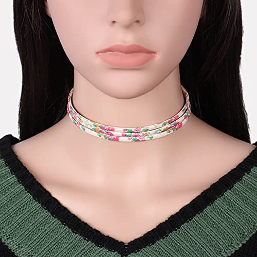 Multilayer Flower Woman Imitation Leather Necklace Choker Collar Necklace Vintage Fashion Jewelry Perfect Gifts