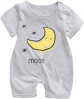 Newborn Baby Boy Girl Short Sleeve Jumpsuit Sun Cloud Moon Sky Pattern Print O-Neck Rompers