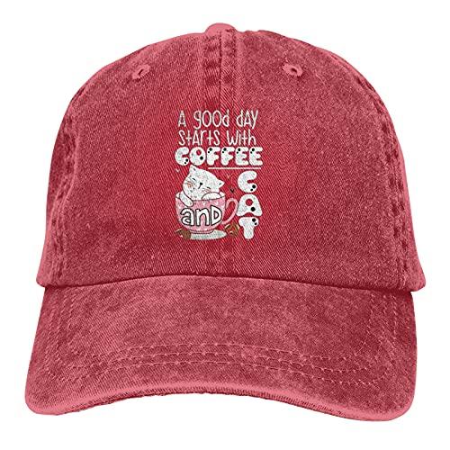 Jopath A Good Day Starts with Coffee and Cat - Gorro de cobertura para mujer y hombre, cálido y grueso para invierno