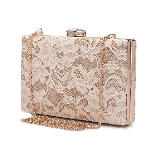 Chichitop Women's Elegant Floral Lace Design Evening Wedding Clutch Handbags Prom Bridal Purse Vintage Style Apricot