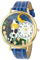Whimsical Watches Unisex G-0120009 Cats Night Out Blue Leather Watch [並行輸入品]