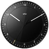 Orologio da Parete Grande Analogico Classico Braun con Movimento Continuo Silenzioso, Facile da leggere, Diametro di 30 cm, Colore Nero, modello BNC017BKBK.