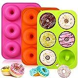 Stampo per Ciambelle in Silicone, Donut Stampi, Silicone Donut Stampo, Silicone Donut Teglia, per Cioccolato, Torte, Dolci, Muffin - Antiaderente & Termoresistente, 3 Pack
