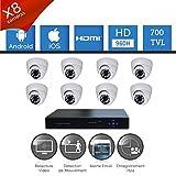 Talinfo - Kit de cámaras de video vigilancia 8 HD SONY 700 TVL - Disque dur 1000Go offert, 8 câbles de 40M alim. et vidéo, écran 22', Garantie 2 ans
