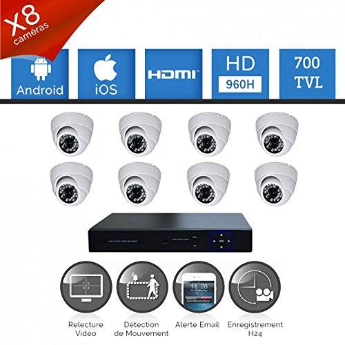 Kit Videosorveglianza 8Telecamere HD Sony 700TVL–Hard disk 1000GB omaggio, 8cavi di 40m Alimentazione e Video, senza schermo, garanzia 2anni