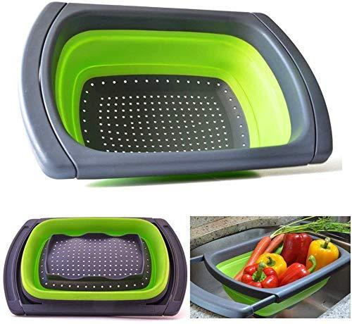 JmeGe Sieb Zusammenklappbares Klappsieb über dem Waschbecken Seiher Gemüse/Obst Siebsieb mit ausziehbaren Griffen - Klappsieb für die Küche(Grün)