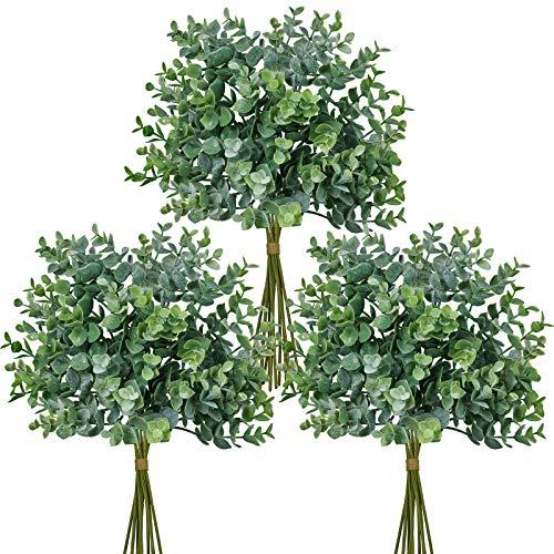 Winlyn 33 Pcs Artificial Eucalyptus Leaves Stems in Grey Green14.6 Tall Bulk Wedding Bouquet Greenery Rustic Holiday Greens for Vase Mason Jar Bottle Floral Arrangement Christmas Wreath Garland
