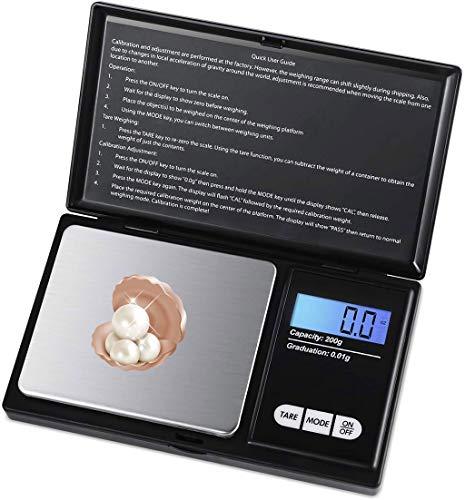 Intelligente keukenweegschaal met LCD-display en 7 eenheden, tarrafunctie, voor het koken, koffie, digitale weegschaal van Precisione-200g x 0,01 g nauwkeurigheid