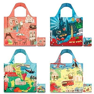 LOQI Urban Paris Collection Pouch Reusable Bags, Multicolored, Set of 4