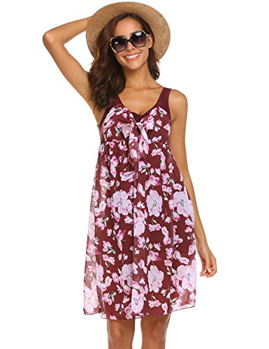 Hotouch Women's One Piece Printed Mesh Beach Swim Dress Bow-Knot Dark Red L