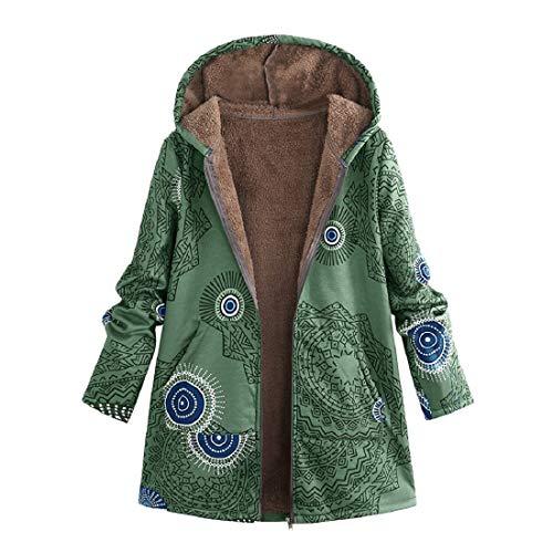 HULKY Liquidazione Felpe con Cappuccio Donne più Velluto Ispessito Felpa con Cappuccio Zip Cappotto Casual Plus Size Hoodies Cime Autunno Inverno(Verde 2,x-Large)