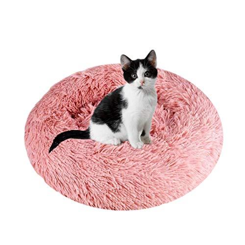 Queta Deluxe-Haustierbett,für Katzen und kleine bis mittelgroße Hunde,Leicht zu reinigen,Bett für Haustiere in Doughnut-Form(Pink)