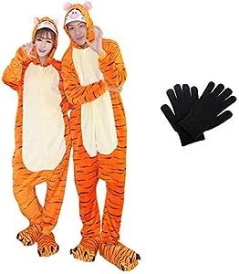 Pijamas Disfraces Onesie Animal Adultos Kigurumi Carnaval Halloween Fiesta Espectáculo Navideño Mono Cosplay Ropa Interior Unisex Mujeres y Hombres con Guantes Tigre S