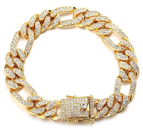 Halukakah Cadena de Oro Iced out,12MM Cadena Cubana para Hombres Miami Chapado en Oro Real de 18k Pulsera 18cm,Cz Completo Diamante,Regalo para Él