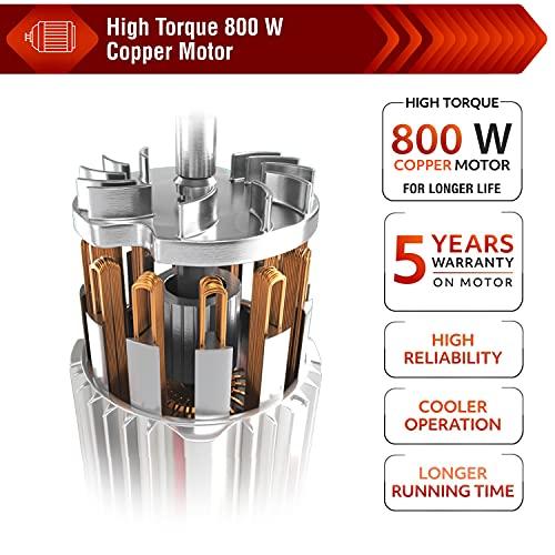 Usha Trienergy Plus 800 Watt Mixer Grinder with Copper Motor, Square Shaped Quadri Flow Blender Jar and, 6 Fin Whirlwind Food Grade Blade, 4 Jars (Magenta)