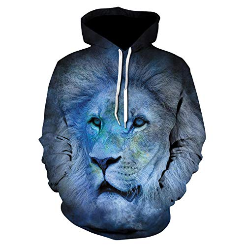 Hoodies Autumn Winter Lovers Teen Unisex Jumpers Tops Casual Pullover Long Sleeve Pockets Funny Animal lion head 3D Print S-6Xl