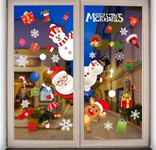 Natale Adesivi Porta Natale Vetrofanie Addobbi Rimovibile Adesivi Statico Fai Da Te Finestra Sticker Decorazione Babbo Natale Vetrina Renne Di Natale Wallpaper Adesivi
