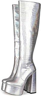 Laarzen Over De Knie, Dames Plateauzolen, Dikke Damesschoenen Met Ronde Neus,Silver,38