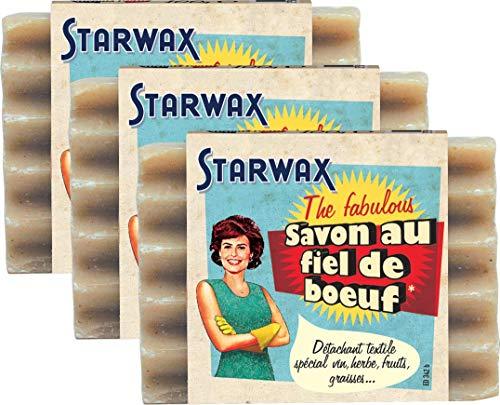 STARWAX FABULOUS Savon au Fiel de Boeuf - 100g - Idéal pour Éliminer Toutes les Taches Tenaces - Lot de 3