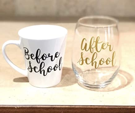 Stemless Wine Glass and Mug Set - Before and After School Set -Teacher gifts