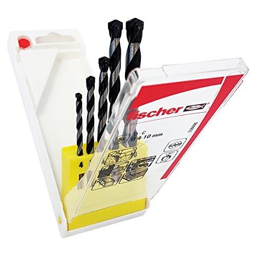 Fischer Set Punte Trapano D-C Professionali da Muro SDX, Misure 4-5-6-8-10 mm, Punta al Carburo per Muro Pieno e Mattoni Forati, 536606