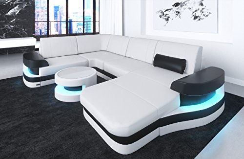 Lederen interieur Modena U-vormige wit-zwart bank bank hoek bank lederen bank designerbank lederen bank hoekbank bank bank