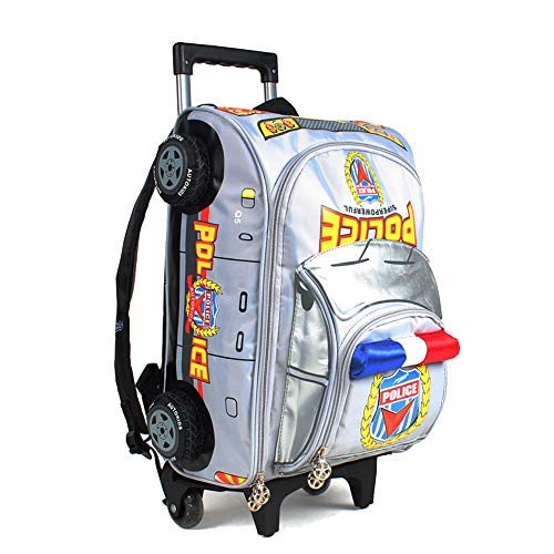 RUNALP 3D Police Car Audi Q5 Style Rolling Backpack for Toddlers and Kids, Lightweight and Waterproof, Detachable Trolley, Grey