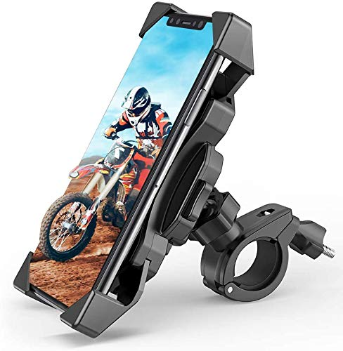 Soporte de teléfono móvil para moto, bicicleta, contracción automática para manillar de bicicleta, espejo retrovisor, con giro de 360°, para smartphone de 4,5 a 6,5 pulgadas y dispositivos GPS