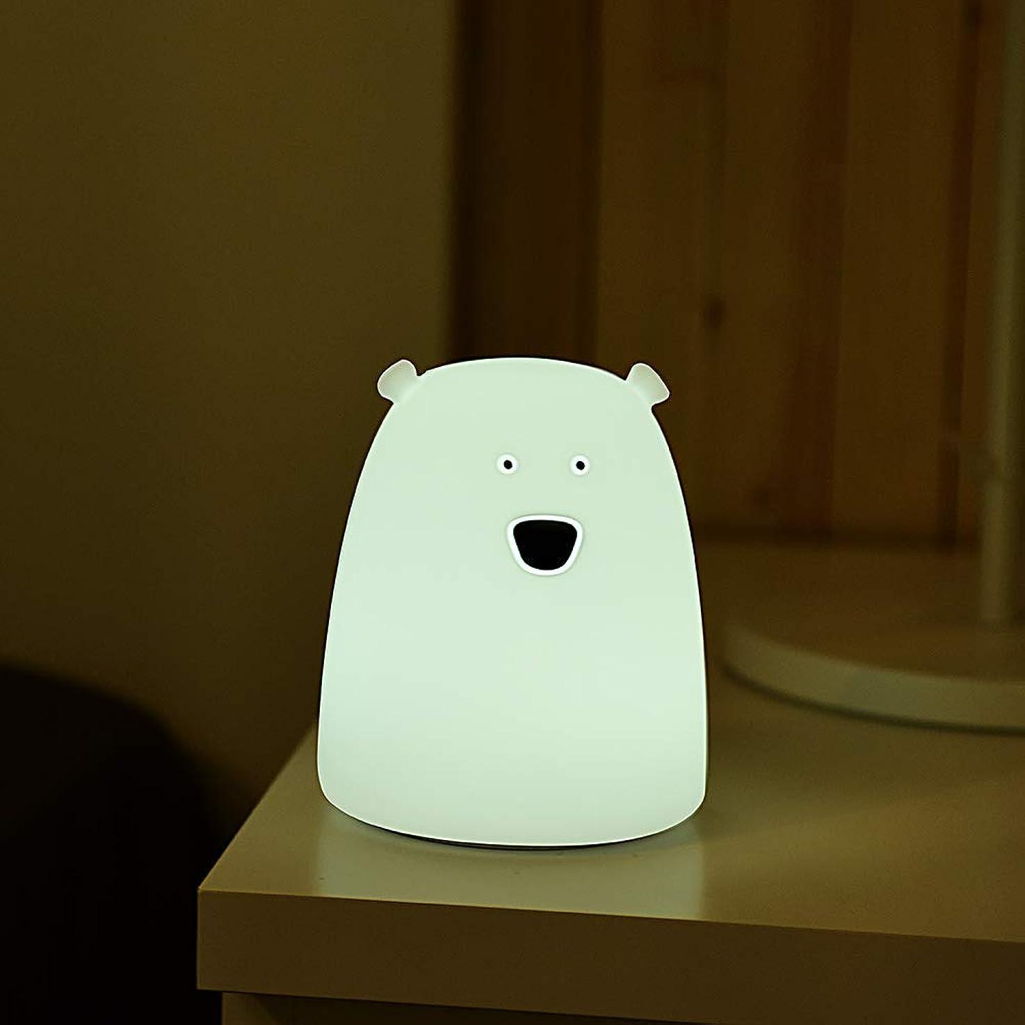 認証接続された常習者Scheam ナイトライト ベッドサイドランプ萌え萌えくま LEDバッテリー タッチ式100時間連続稼働 色温度/明るさ調整可コンパクト プレゼントに 授乳ライト常夜灯 White