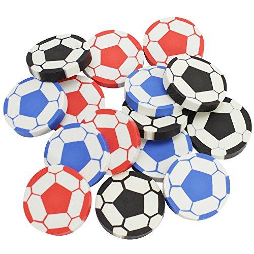 com-four® 15x Radiergummi Fußball, 4,5 cm, ideal als Mitgebsel oder für die Schultüte