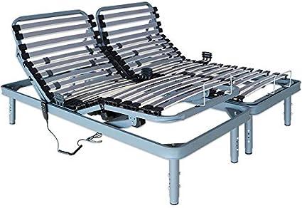 Ventadecolchones - Cama Articulada Super Reforzada Adaptator con Motor eléctrico y Patas Regulables en Altura Medida 135 x 190 cm (2 und 67,5x190 cm)