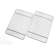 Checkered Chef Cooling Racks For Baking - Quarter Size - Stainless Steel Cooling Rack / Baking Rack Set of 2 - Oven Safe Wire Racks Fit Quarter Sheet Pan - Small Grid Perfect To Cool and Bake