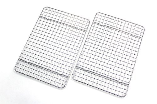 Checkered Chef Cooling Racks For Baking - Quarter Size - Stainless Steel Cooling Rack/Baking Rack Set of 2 - Oven Safe Wire Racks Fit Quarter Sheet Pan - Small Grid Perfect To Cool and Bake