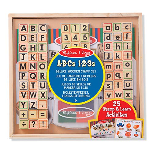 Melissa & Doug | Deluxe Wooden Toy Stamp Set ABCs 123s | Arts & Crafts | Stamp Sets & Stencils | 3+ | Gift for Boy or Girl