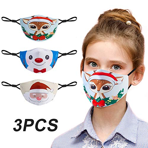 Kids Face Mask, Cloth Face Mask Reusable & Breathable with Cute Pattern, Printed Face Mask with Adjustable Elastic Ear Loop & Filter Proket, Perfect for Girls Boys (3-Pack)