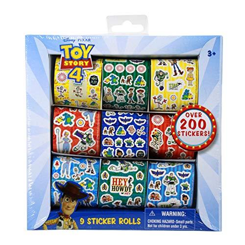 Disney Pixar Toy Story 4, 9 Sticker Rolls Cartoon Character Stationery Party Favor Creative Scrapbook Decor Arts & Crafts Activity Signature Collection Woody, Buzz Lightyear, Little Bo Peep (200+ Pcs)