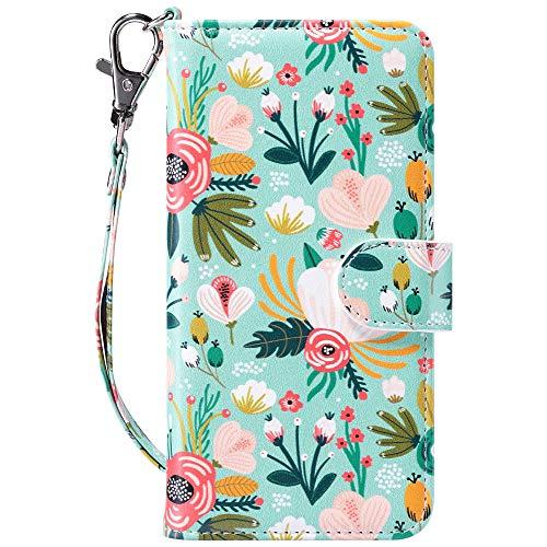 ULAK iPhone SE 2020 Hülle, iPhone 7/8 Premium Lederhülle Flip Cover Tasche Brieftasche Schutzhülle Magnet Handyhülle Standfunktion mit Kartenfächer Hülle für iPhone 7/8/SE 2(2020) - Bunte Blume