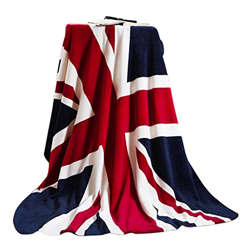 FakeFace Weiche Kuscheldecke Flanell Wolldecke Tagesdecke Bettdecke Blankets mit Englische Flagge Aufdruck für Damen Herren Kinder Schlafzimmer Sofa Auto in alle Jahreszeit 200x150CM