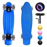 shownicer Skateboard Complet Mini Cruiser Skate Penny Board 22'/57cm Skateboard Plastique pour Enfants Filles Garçon Débutant Ado Adulte, LED Roues Lumineuses & Roulements ABEC-11 & Tout-en-Un T-Tool