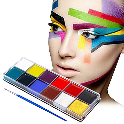 Find Cheap Face Paint, Professional 12 Colors Color Mega Palette Face Painting Kits for Kids | FDA A...