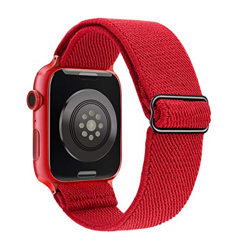 JOHIPI Stretchy Nylon Solo Loop Bands Compatible with Apple Watch Band 38mm 40mm 42mm 44mm, iWatch Adjustable Stretch Braided Sport Elastics Velcro Women Men Strap For Apple Watch Series 6 5 4 3 2 1 SE (Red, 42mm/44mm)