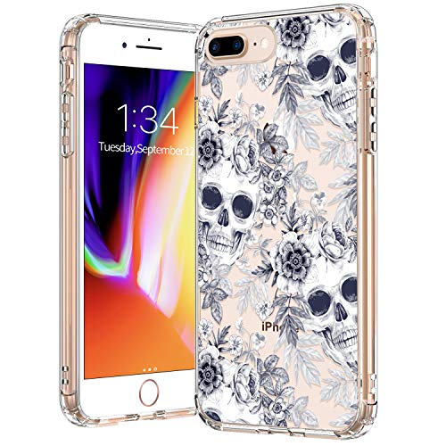 BICOL iPhone 8 Plus Case,iPhone 7 Plus,Skull Pattern Clear Design Transparent Plastic Hard Back Case with TPU Bumper Protective Case Cover for Apple iPhone 8 Plus/iPhone 7 Plus