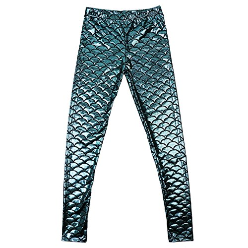 Damen dehnbar Leggings Glänzend Meerjungfrau Fisch Schuppen Print Strumpfhose Hüfthose in viele Farbe - wie bild, M