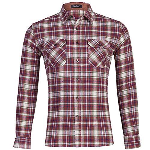 Herrenhemden Baumwolle Flanellhemd Plaid Langarm Tops Full Buttons Shirts mit Taschen